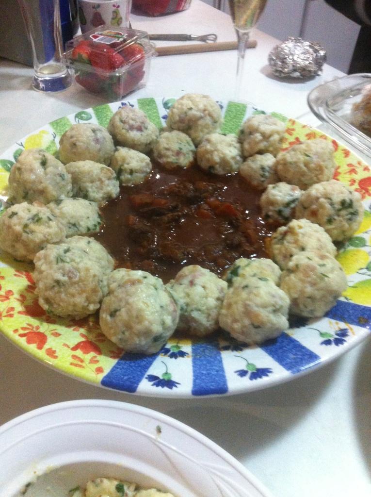 Goulash and bacon dumplings