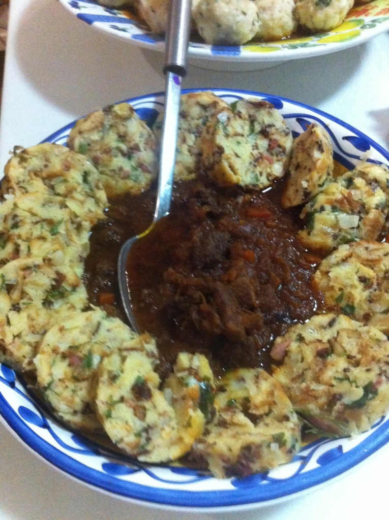 Goulash and mushroom dumplings