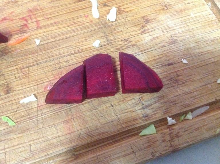 Chop each slice into three